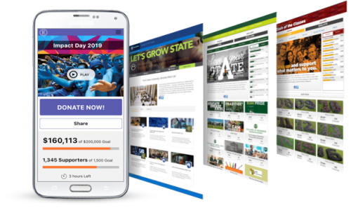 Smart phone with multiple nonprofit fundraising software pages