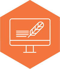 Orange hexagon with computer and feather