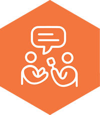 Orange hexagon with two people communicating