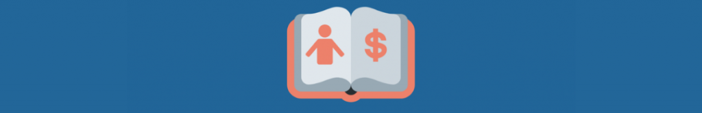 cartoon of book with person and dollar sign on pages. The link between storytelling and relationships