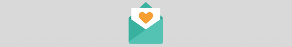 icon of a letter with piece of paper coming out of it, with a heart