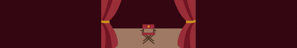 cartoon of a director's chair on a stage with curtains, alluding to campaign video directors
