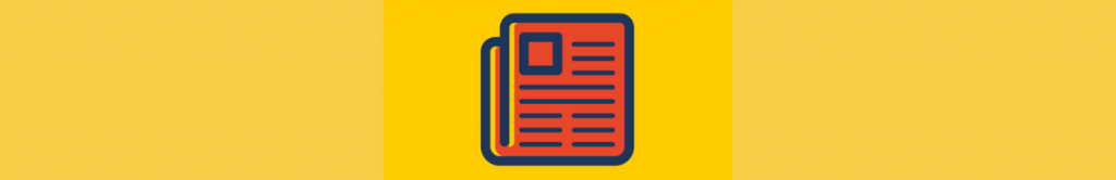 cartoon image of a newspaper or press release on a yellow background