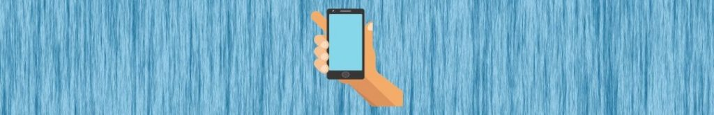 cartoon hand holding smartphone